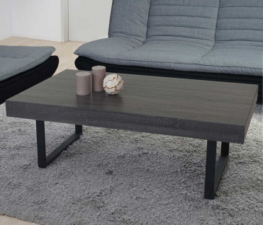 Couchtisch Kos T576, Wohnzimmertisch, FSC 40x110x60cm Schwarze Eiche-Optik, dunkle Metall-Füße