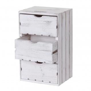 Kommode HWC-C62, Schubladenkommode Holzkiste, Shabby-Look Vintage, 3 Schubladen 53x32x26cm weiß
