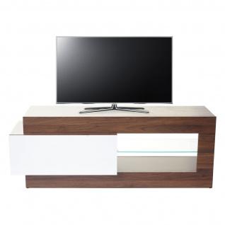 TV-Rack HWC-B51, Fernsehtisch Lowboard Schrank, 3D-Struktur Walnuss-Optik hochglanz 55x150x47cm