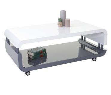 MCA Couchtisch HL Design Luna, Wohnzimmertisch, hochglanz weiß/grau 42x109x60cm