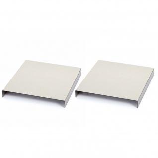 Armlehnen-Ablage HWC-C67, Sofa-Butler Tablett, Edelstahl 25cm Länge ~ 23cm, 2 Stück