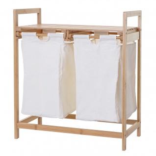 Wäschesammler HWC-B83, Laundry Wäschesortierer Wäschebox Wäschekorb Wäschebehälter, Bambus 2 Fächer 74x64x33cm 70l