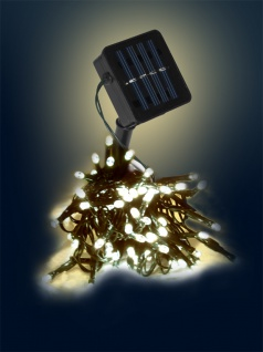 LED Solar Lichterkette LD02, Leuchtkette ~ 150 LEDs, warmweiß