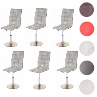 6x Esszimmerstuhl HWC-C41, Stuhl Küchenstuhl, höhenverstellbar drehbar, Fuß gebürstet, Stoff/Textil vintage hellgrau