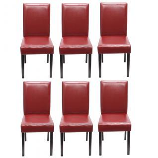 6x Esszimmerstuhl Stuhl Küchenstuhl Littau ~ Kunstleder, rot, dunkle Beine