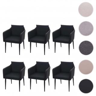 6x Esszimmerstuhl HWC-H93, Küchenstuhl Lehnstuhl Stuhl ~ Kunstleder schwarz