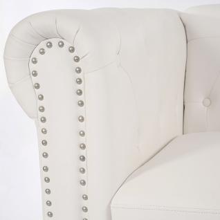 Luxus Sessel Loungesessel Relaxsessel Chesterfield Kunstleder runde Füße, weiß - Vorschau 4