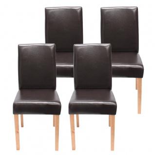 4x Esszimmerstuhl Stuhl Küchenstuhl Littau ~ Kunstleder, braun helle Beine