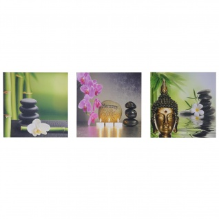 Leinwandbild T376, Wandbild, 3-teilig 150x50cm ~ Buddha