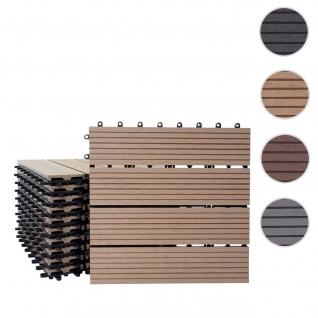 WPC Bodenfliese Rhone, Holzoptik Balkon/Terrasse, 11x je 30x30cm = 1qm ~ Basis, teak linear