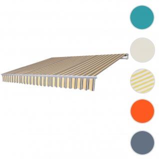 Alu-Markise HWC-E49, Gelenkarmmarkise Sonnenschutz 2, 5x2m ~ Polyester grau-gelb gestreift - Vorschau 1