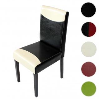 Esszimmerstuhl Littau, Küchenstuhl Stuhl, Kunstleder ~ schwarz/weiß, dunkle Beine
