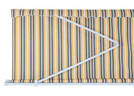 Alu-Markise HWC-E49, Gelenkarmmarkise Sonnenschutz 2, 5x2m ~ Polyester grau-gelb gestreift - Vorschau 5