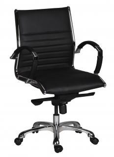 Bürostuhl A076, Chefsessel Drehstuhl, Echtleder, 5-Punkt Multiblockwippmechanik schwarz