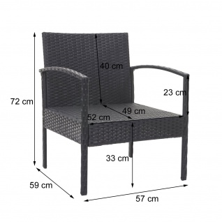 Poly-Rattan Garnitur HWC-F56, Balkon-/Garten-/Lounge-Set Sitzgruppe ~ braun, Kissen dunkelgrau - Vorschau 4