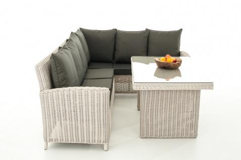 Sofa-Garnitur CP056, Lounge-Set Gartengarnitur, Poly-Rattan ~ Kissen anthrazit, perlweiß