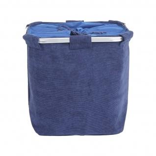 Wäschesammler HWC-C34, Laundry Wäschebox Wäschekorb Wäschebehälter mit Netz, 2 Fächer 56x49x30cm 82l ~ cord blau