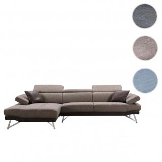 Sofa HWC-H92, Couch Ecksofa L-Form 3-Sitzer, Liegefläche ~ links, braun