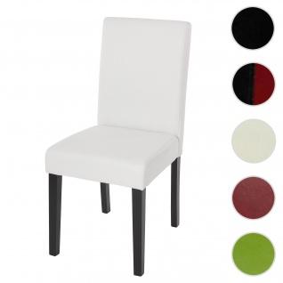 Esszimmerstuhl Littau, Küchenstuhl Stuhl, Kunstleder ~ weiß matt, dunkle Beine