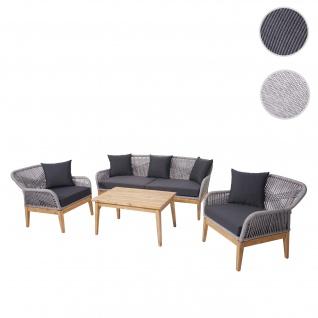 Gartengarnitur HWC-H56, Lounge-Set Sitzgruppe Sofa, Seilgeflecht Massivholz Akazie Spun Poly ~ Kissen dunkelgrau