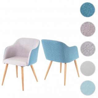 2x Esszimmerstuhl HWC-D71, Stuhl Küchenstuhl, Retro Design, Armlehnen Stoff/Textil ~ hellgrau-türkis
