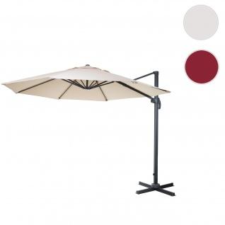 Gastronomie-Ampelschirm HWC-A96, Sonnenschirm, rund Ø 4m Polyester/Alu 27kg ~ creme ohne Ständer