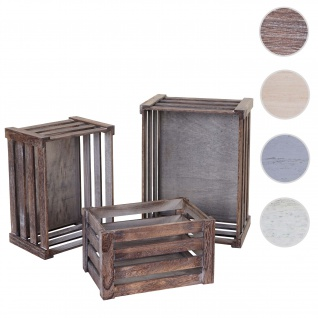 3er Set Holzkiste HWC-C56, Weinkiste Dekokiste Aufbewahrungskiste Obstkiste, Shabby-Look Vintage ~ braun, shabby