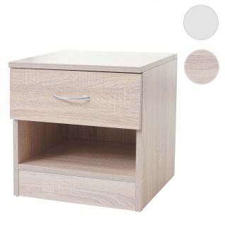 Kommode Aarhus, Nachtschrank Nachttisch, 1 Schublade 41x40x35cm Eiche-Optik