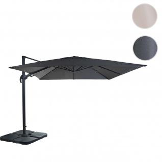 Gastronomie-Ampelschirm HWC-A96, 3x3m (Ø4, 24m) schwenkbar, Polyester Alu/Stahl 23kg ~ anthrazit mit Ständer