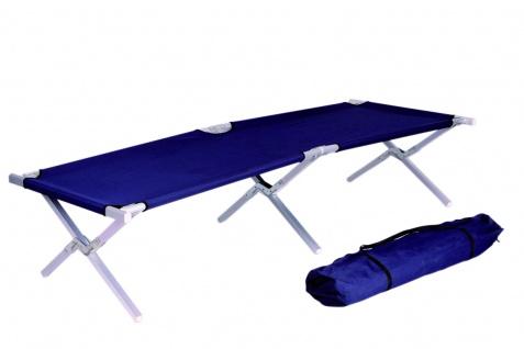 Camping-Bett LD46, Feldbett Klappbett Gästebett, inkl. Tragetasche, 190x62x42cm ~ dunkelblau, Gestell Stahl