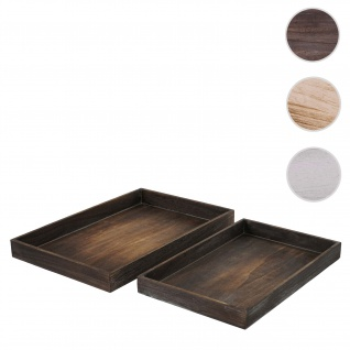 2er Set Schale T285, Kerzentablett Holztablett, Shabby-Look ~ braun