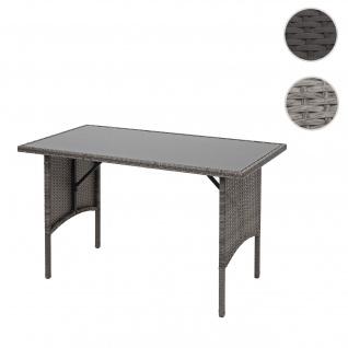 Poly-Rattan Esstisch HWC-G16, Esszimmertisch Gartentisch Tisch, Gastronomie 112x60cm ~ grau