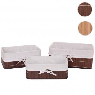3er Set Aufbewahrungskorb HWC-C21, Korb Aufbewahrungsbox Ordnungsbox Sortierbox Regalkorb, Bambus ~ braun