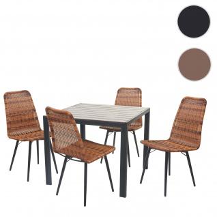 Gartengarnitur HWC-F90, Sitzgruppe Balkon-Set, WPC-Tischplatte 4xPoly-Rattan Stuhl+Tisch 76x90x90cm braun