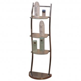 Badezimmerregal H97, Regal Badregal, 3 Ablagen, Glasböden, 101x33x25cm