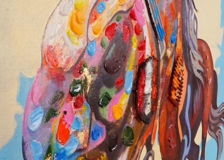 Ölgemälde Pferd, 100% handgemaltes Wandbild XL, 100x90cm - Vorschau 4
