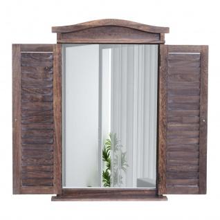 Wandspiegel Badspiegel Badezimmer Spiegelfenster mit Fensterläden, 71x46x5cm ~ shabby braun - Vorschau 3
