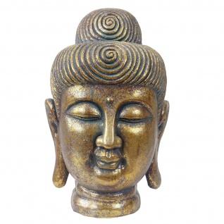 XL Deko Figur Buddha 38cm, Polyresin Skulptur Kopf, In-/Outdoor gold - Vorschau 3
