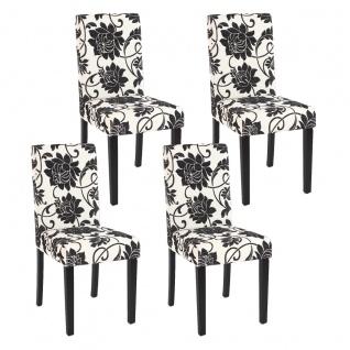 4x Esszimmerstuhl Stuhl Küchenstuhl Littau ~ Textil, jacquard, dunkle Beine