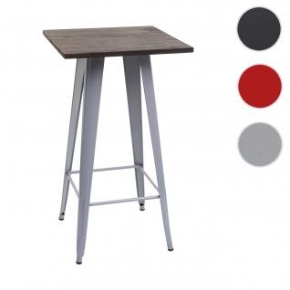 Stehtisch HWC-A73 inkl. Holz-Tischplatte, Bistrotisch Bartisch, Metall Industriedesign 107x60x60cm ~ grau