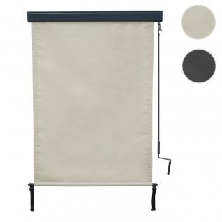 Vertikalmarkise HWC-F42, Senkrechtmarkise Sichtschutz Außenrollo Rollo, UV-Schutz 50 Stoff ~ 250x100cm, creme-beige