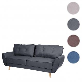 3er-Sofa HWC-J19, Couch Klappsofa Lounge-Sofa, Schlaffunktion ~ Stoff/Textil anthrazit