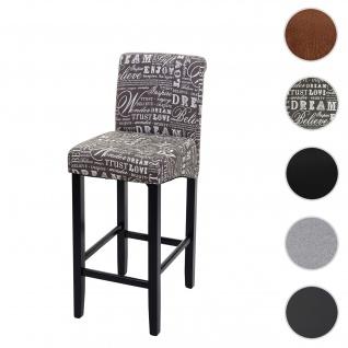 Barhocker HWC-C33, Barstuhl Tresenhocker, Holz ~ Schriftzug, grau, dunkle Beine, Stoff/Textil - Vorschau 1