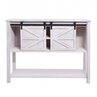 Kommode HWC-D57, Schiebetürenschrank Sideboard Schrank, Shabby-Look Vintage 81x102x34cm ~ weiß - Vorschau 4