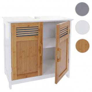 Waschbeckenunterschrank HWC-A85, Badschrank 60x60x30cm ~ bambus