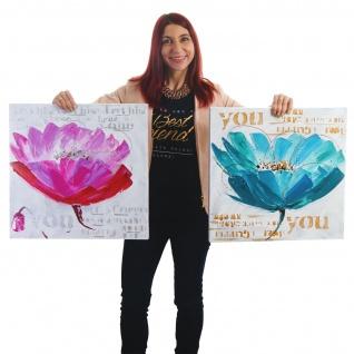 Ölgemälde Orchidee, 100% handgemaltes Wandbild XL, 100x50cm