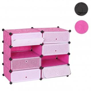 Schuhschrank HWC-B66, Schuhablage Schrank Steckregal Aufbewahrung, 8 Fächer 73x92x36cm ~ rosa