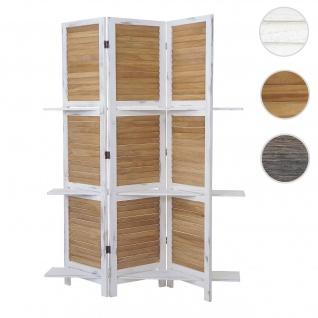 Paravent Yvelines, Trennwand Raumteiler mit Regalböden 170x125cm, Shabby Look ~ weiß/braun