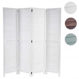 Paravent HWC-C30, Raumteiler Trennwand Sichtschutz, Shabby-Look Vintage, 170x160cm ~ weiß