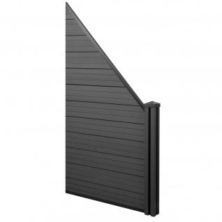 WPC-Sichtschutz Sarthe, Windschutz Zaun, WPC-Pfosten ~ Erweiterungselement schräg rechts, 0, 98m anthrazit